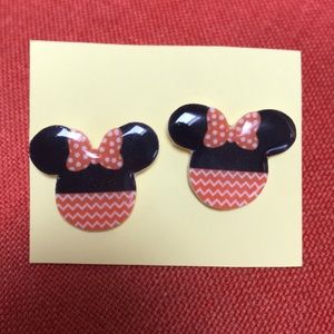 Minnie Mouse Disney halloween chevron earrings